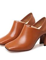 Недорогие -Жен. Fashion Boots Наппа Leather Лето Ботинки На толстом каблуке Закрытый мыс Ботинки Черный / Коричневый