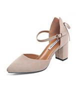 Недорогие -Жен. Комфортная обувь Полиуретан Весна Обувь на каблуках На толстом каблуке Черный / Миндальный