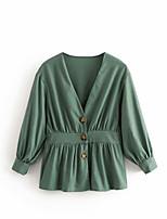 Недорогие -Жен. Блуза V-образный вырез Однотонный