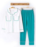 cheap -Women's Deep V Suits Pajamas Color Block