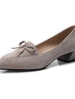 Недорогие -Жен. Балетки Замша Весна Обувь на каблуках На толстом каблуке Черный / Розовый / Хаки