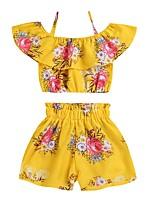 Недорогие -Дети Девочки Цветок солнца Цветочный принт Без рукавов Набор одежды