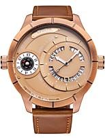 Недорогие -Oulm Муж. Спортивные часы Наручные часы Японский Японский кварц 30 m Календарь С двумя часовыми поясами Крупный циферблат Кожа Группа Аналоговый На каждый день Мода Черный / Коричневый -  / Один год