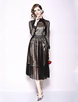 Недорогие -Жен. Классический Оболочка Платье Кружева Средней длины