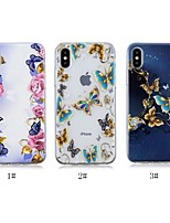 baratos -Capinha Para Apple iPhone X / iPhone 8 Plus Estampada Capa traseira Borboleta Macia TPU para iPhone X / iPhone 8 Plus / iPhone 8