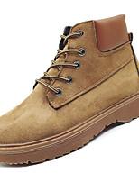 Недорогие -Жен. Армейские ботинки Замша Осень На каждый день Ботинки На низком каблуке Сапоги до середины икры Черный / Темно-коричневый