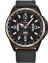 Недорогие -NAVIFORCE Муж. Спортивные часы Наручные часы Японский Японский кварц 30 m Защита от влаги Календарь Фосфоресцирующий Натуральная кожа Группа Аналоговый На каждый день Мода Черный / Коричневый -