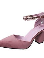 Недорогие -Жен. Балетки Полиуретан Осень Обувь на каблуках На толстом каблуке Заостренный носок Заклепки Серый / Зеленый / Розовый