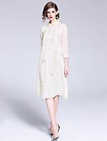 Недорогие -Жен. Уличный стиль / Шинуазери (китайский стиль) А-силуэт Платье Вышивка Средней длины
