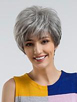 Недорогие -Человеческие волосы без парики Натуральные волосы Прямой Стрижка под мальчика Природные волосы Темно-серый Без шапочки-основы Парик Жен. На каждый день