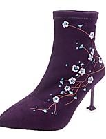 Недорогие -Жен. Fashion Boots Замша Весна & осень Ботинки На шпильке Заостренный носок Ботинки Черный / Лиловый / Свадьба / Для вечеринки / ужина