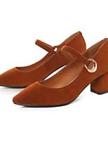 Недорогие -Жен. Балетки Замша Весна / Осень Обувь на каблуках На толстом каблуке Черный / Коричневый