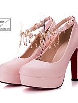 Недорогие -Жен. Балетки Полиуретан Лето Обувь на каблуках На толстом каблуке Черный / Бежевый / Розовый