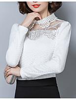 baratos -Mulheres Blusa Básico Com Corte / Patchwork, Sólido