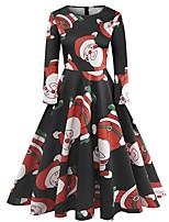 baratos -Mulheres Sofisticado balanço Vestido - Estampado, Geométrica Altura dos Joelhos