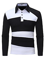 Недорогие -Муж. Офис Polo Рубашечный воротник Тонкие Контрастных цветов / Длинный рукав
