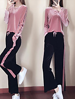 cheap -Women's Pocket 2pcs Tracksuit - Black, Red, Pink Sports Color Block Pleuche Pants / Trousers / Top Yoga, Running, Fitness Long Sleeve Activewear Quick Dry, Breathable, Soft Stretchy Slim