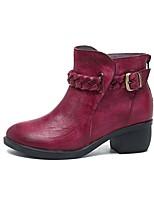 Недорогие -Жен. Комфортная обувь Кожа Зима Ботинки На толстом каблуке Оранжевый / Красный