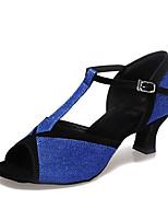 economico -Per donna Scarpe per balli latini Sintetico Tacchi Brillantini / Lustrini Tacco spesso Personalizzabile Scarpe da ballo Argento / Marrone / Blu