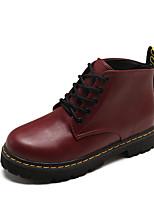 Недорогие -Жен. Ботильоны Полиуретан Осень На каждый день Ботинки На низком каблуке Ботинки Черный / Винный