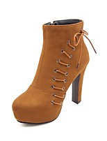 Недорогие -Жен. Fashion Boots Полиуретан Наступила зима Ботинки На толстом каблуке Круглый носок Ботинки Черный / Желтый / Пурпурный
