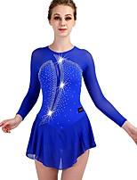 abordables -Robe de Patinage Artistique Femme / Fille Patinage Robes Bleu royal Haute élasticité Utilisation / Exercice Tenue de Patinage Séchage rapide, Design Anatomique Classique / Sexy Manches Longues