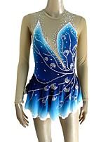cheap -Figure Skating Dress Women's / Girls' Ice Skating Dress Blue Spandex Micro-elastic Professional Skating Wear Sequin Long Sleeve Figure Skating
