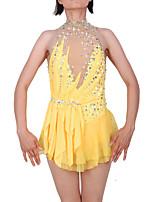 cheap -Figure Skating Dress Women's / Girls' Ice Skating Dress Yellow Spandex High Elasticity Professional Skating Wear Fashion Sleeveless Ice Skating / Winter Sports / Figure Skating