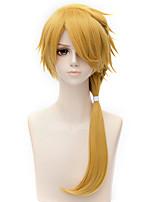 abordables -Accessoires pour Perruques Droit Blond Coupe Dégradée Cheveux Synthétiques 28 pouce Animé / Cosplay Blond Perruque Homme Long Sans bonnet Jaune