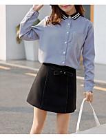 Недорогие -Жен. Пэчворк Рубашка Классический Полоски