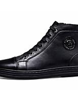 Недорогие -Муж. Комфортная обувь Наппа Leather Зима Кеды Черный