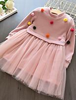 Недорогие -Дети / Дети (1-4 лет) Девочки Однотонный Длинный рукав Платье