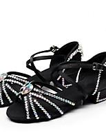 Недорогие -Жен. / Девочки Обувь для латины Сатин Сандалии Толстая каблук Танцевальная обувь Черный