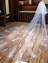Недорогие -Два слоя Милый стиль / Цветочный дизайн Свадебные вуали Фата для венчания с Аппликации / Оборки Кружева / Тюль