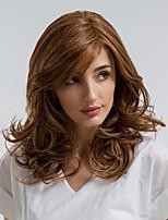 Недорогие -Парики из искусственных волос Кудрявый Боковая часть Искусственные волосы 18 дюймовый Природные волосы Коричневый Парик Жен. Средняя длина Без шапочки-основы Бежевый