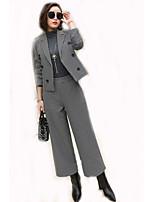 Недорогие -женская работа бизнес формальные костюмы-houndstooth выемка лацканы