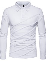 cheap -Men's Polo - Solid Colored Shirt Collar / Long Sleeve