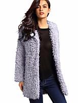 Недорогие -Жен. На выход Пальто с мехом Однотонный, Искусственный мех