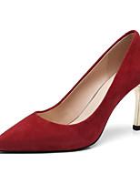 Недорогие -Жен. Балетки Замша / Овчина Лето Обувь на каблуках На шпильке Черный / Лиловый / Красный