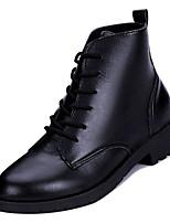 Недорогие -Жен. Армейские ботинки Полиуретан Осень На каждый день Ботинки На плоской подошве Сапоги до середины икры Черный