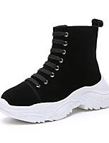 Недорогие -Жен. Армейские ботинки Полиуретан Осень Ботинки На плоской подошве Круглый носок Черный / Желтый / Красный