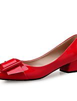 abordables -Femme Escarpins Polyuréthane Printemps été Minimalisme Chaussures à Talons Talon Bottier Bout pointu Boucle Noir / Rouge / Amande / Soirée & Evénement