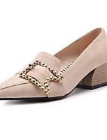 Недорогие -Жен. Комфортная обувь Замша Лето Милая Обувь на каблуках На толстом каблуке Черный / Миндальный / Хаки