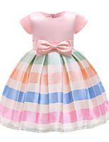Недорогие -Дети Девочки Полоски / Контрастных цветов С короткими рукавами Платье