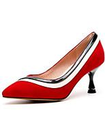 Недорогие -Жен. Балетки Замша Лето Обувь на каблуках На шпильке Черный / Красный