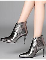 Недорогие -Жен. Fashion Boots Наппа Leather Осень Ботинки На шпильке Закрытый мыс Ботинки Черный / Серебряный