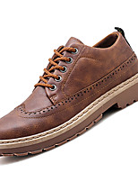 Недорогие -Муж. Комфортная обувь Полиуретан Осень Английский Туфли на шнуровке Нескользкий Черный / Коричневый