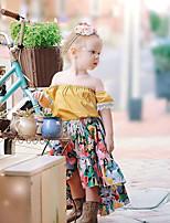 Недорогие -малыш Девочки Цветочный принт С короткими рукавами Набор одежды