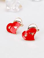 Недорогие -Жен. Классический Серьги-гвоздики - Сердце европейский, Мода Красный Назначение Повседневные