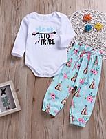 Недорогие -малыш Девочки Цветочный принт Длинный рукав Набор одежды